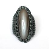 bague pierre de lune grise indienne macrame indian grey moonstone ring (1)
