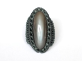 bague pierre de lune grise indienne macrame indian grey moonstone ring (1)