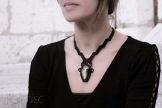 collier obsidienne argentée macrame silver obsidian necklace (4)