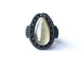 bague obsidienne macrame ring