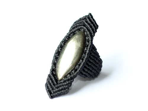 bague pyrite macrame ring (2)