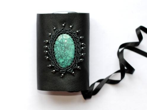 bracelet gothique cuir macrame turquoise leather gothic bracelet (0)