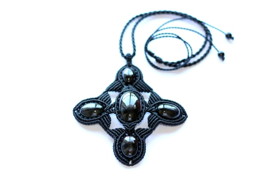 collier black star macrame necklace (8)
