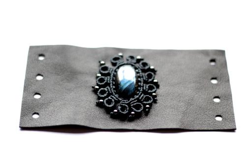 bracelet gothique cuir macrame labradorite leather gothic bracelet (18)