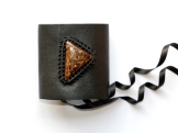bracelet gothique cuir macrame bronzite cuprite leather gothic bronzite bracelet (1)