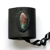 bracelet gothique cuir macrame chrysocolle cuprite leather gothic chrisocola bracelet (1)
