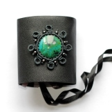 bracelet gothique cuir macrame chrysocolle leather gothic chrisocola bracelet (1)