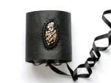 bracelet gothique cuir macrame jaspe peau leopard cuprite leather gothic leopard skin jasper bracelet (1)
