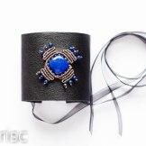 manchette cuir lapis lazuli macrame leather cuff (1)