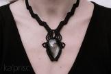 collier obsidienne argentée macrame silver obsidian necklace (3)